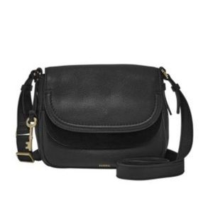 Black leather Fossil Peyton Leather Crossbody bag